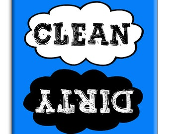 Guajolote Prints Dishwasher Magnet Clean Dirty 2.5 x 2.5 inches, Chalkboard Clouds