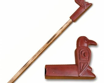 "Raven Effigy Pipe Catlinite Red Pipestone 24"" Peace Pipe Ceremonial"