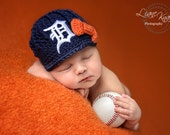 Girls Crochet Newsboy Hat with Old English D Patch and Bow / Major League Baseball Baby / Photo Prop