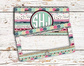 16th birthday gift for girls, Tribal monogram license plate or frame, Aztec seat belt strap cover, Personalized bike tag or keychain (1381)