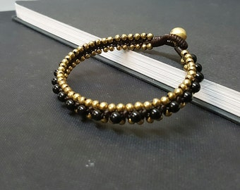 Black Onyx  Brass Woven  Bracelet