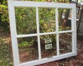 28 x 23 Vintage Antique Window sash old 6 pane from 1951 Arts& Crafts