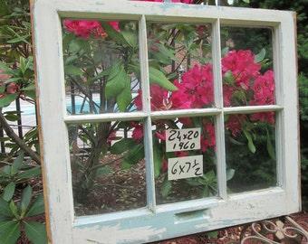 24 x 20 Vintage Antique Window sash old 6 pane from 1960 Arts& Crafts