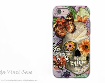 Butterfly Skull - Day of the Dead iPhone 7 Tough Case - Dual Layer Protection - Butterfly Botaniskull