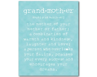 Mother's Day Gift - A grandmother is quote - grandmother definition - Inspirational Typography word art print - gift for grandma