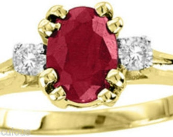 Genuine Diamond & Red Ruby or Blue Sapphire Ring 14K Yellow Gold