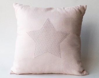"Star Pillow Cover, Modern Nursery Decor, Kids Room Decor, Baby Girl Room, Children Room, Baby Cushion, Kids Pillow, Quartz Pink, 16"" x 16"""