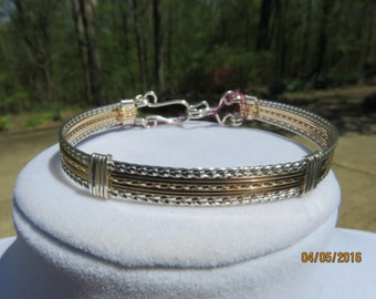 Sterling Silver and 14 kt Gold filled Wire Wrap Bangle Bracelet