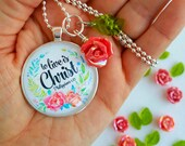 to live is Christ Philippians 1.21 / LARGE inspirational pendant necklace