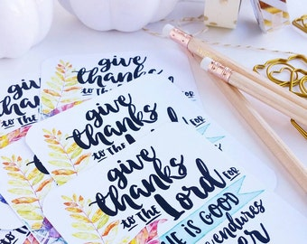 give thanks to the Lord Psalms 107 / set of 6 journaling / bible journaling cards