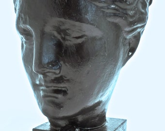 Head of Hygeia Sculpture in black plaster resin with acrylic overlay