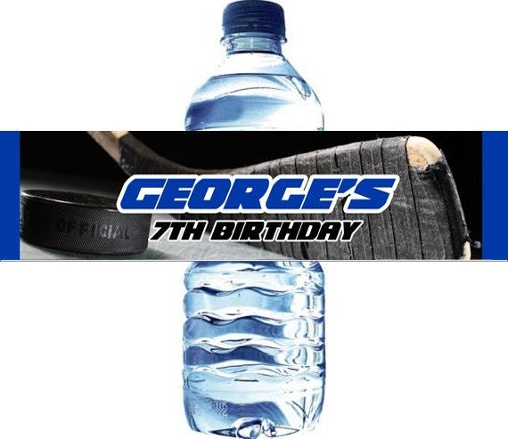 Personalized Sports Bottle Labels: Ice Hockey Water Bottle Label Digital File Hockey Water