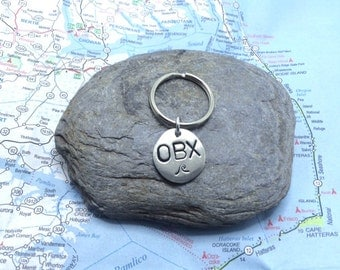 Handstamped Outer Banks (OBX) Keychain Charm   Beach vacation souvenir   Unique gift under 10
