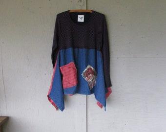 cotton knit tunic Boho upcycled clothing Large Lagenlook romantic denim top Eco patchwork shirt funky Artsy Aline tunic  LillieNoraDryGoods