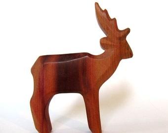 Deer, Wooden Deer, Wood Sculpture, Woodcarving, Wildlife, Wooden Toys, Carved Animals, Plum Wood,