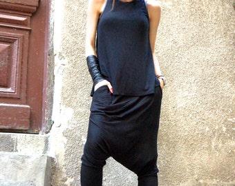NEW Collection Boho Pants  Loose Casual Black Drop Crotch Harem Pants / Extravagant Black Viscose Pants / Unisex pants by AKASHA A05463