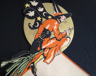 Vintage Halloween RARE Antique Art Deco Halloween Witch Flying over Moon on Broom with Black Cat Bats and Stars Old Gibson Place Card 1930s