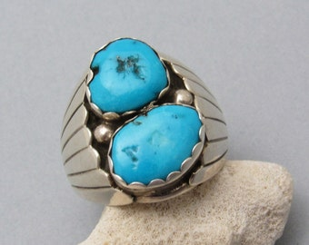 Vintage Navajo Sterling Turquoise Ring Signed Size 12 H798