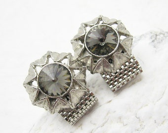 Vintage Rhinestone Cufflinks Gray Rivoli Stone Mesh Jewelry H778