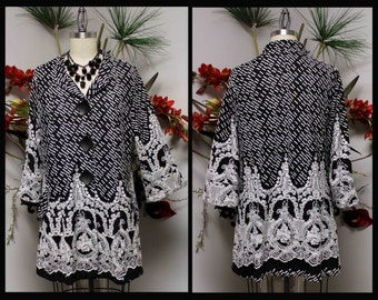 Exclusice,Textured Jacquard Gorgeous, Artsy, Chic and Dressy Jacket for any season. Medium to 3XL