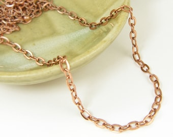 24 Inch Antique Copper Necklace Chain Medium Link Copper Plated Oval Chain with Extender |BC1-13|1