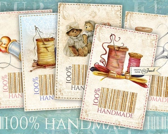 100% Handmade - printable shewing tags - digital collage sheet - set of 9 - vintage illustration - retro dress
