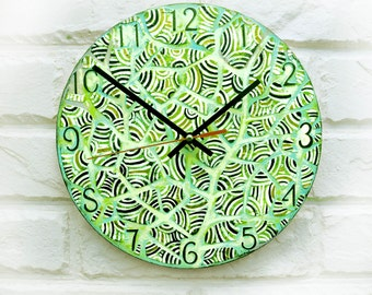 The Green Leaves Wall Clock, wood clock, for Office, Industrial style, Dad Gift, Gift to our Father, Dad Appreciation Gift, Fathers Day Gift