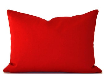 CLEARANCE SALE Lumbar Pillow Covers Decorative Pillow Cover Red Pillow Premier Prints Solid Lipstick Red