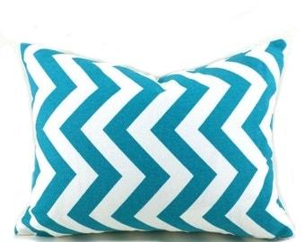 20% Off CLEARANCE SALE Turquoise Lumbar Pillow Decorative Pillow Cover Pillows Home Decor Premier Prints Zigzag Chevron True Turquoise