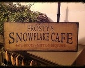 Hand stenciled sign for winter