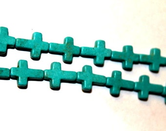 12 mm x 16 mm Turquoise Blue Turquoise, Magnesite Cross Beads