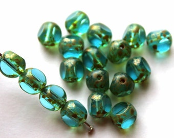 8 mm Light Teal Picasso 3-Cut Beads