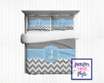 Gray and Baby Blue Bedding Comforter - Gray and Blue Bedroom Decor - Mongrammed Gray and Blue Bedding