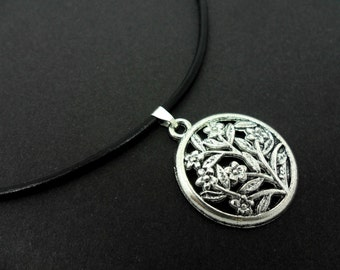 """A leather cord 13"""" - 14"""" tibetan silver circle flower charm choker necklace."""