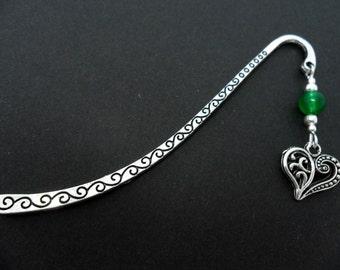 A tibetan silver & green jade  bead  heart charm bookmark.