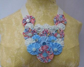 Yoyo Necklace Bib Coral pink blue white fabric yoyo