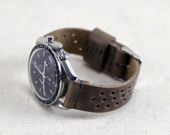 Leather Rally Style Watch Band // Horween Leather Natural Chromexcel - Grey/Brown Leather // Rally Strap