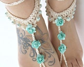 Mint roses Barefoot Sandals- Foot Jewelry- Footless Sandals- Barefoot Wedding Sandal- Beach Wedding- Bridesmaid gift- Valentine's Gift