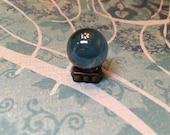 Blue Crystal Ball w Antique Copper Metal Base - Dollhouse Miniature (CB3)