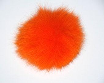 Detachable orange fox fur pom pom