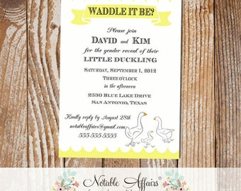 Waddle It Be Baby Duck Gender Reveal Party Shower Invitation - wording can be changed
