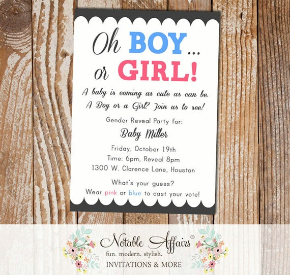 pink or blue boy or girl pink or blue gender reveal or baby shower, Baby shower invitation