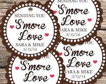 Sending You Smore Love, Smores Tags, Smores Wedding Favors, Smore Love Tags, Smore Favor Tag, Wedding Favor Tags with Ribbons