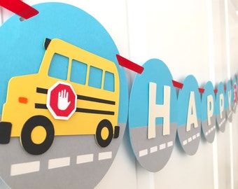 "School Bus Themed ""HAPPY BIRTHDAY"" Banner: Perfect Banner for Kids' Birthday Parties"