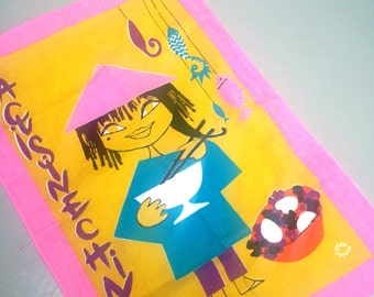 RARE A 1960s 60s vintage Souvenir kitchen tea towel LEFOR OPENO Cuisine Chinoise - chinese cooking
