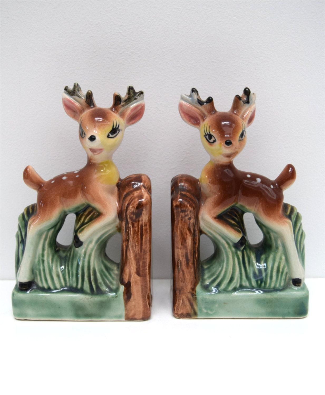 Pair vintage deer bookends ceramic bambi kitsch kawaii cute - Deer antler bookends ...
