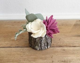 Succulent Planter || Mini Planter || Wood Planter || Felt Succulent Planter || Felt Flowers || Shelf Accessory || Desk Accessory