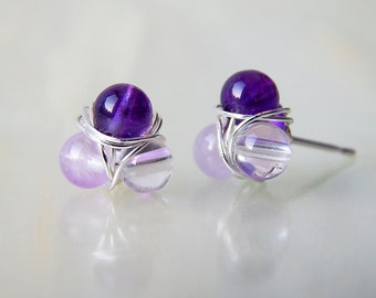 Amethyst Stud Earrings, Amethyst Post Earrings, Ombre Purple Earrings, February Birthstone Earrings, Amethyst Earrings, Cluster Earrings
