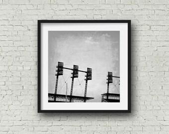 Baseball Photography Black and White Comerica Park Stadium Lights Detroit Tigers Sports Decor Gift for Baseball Loveres