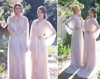 Trieste. One custom Poet sleeve chiffon robe. Long bridal robe in chiffon with draped sleeves. Full skirt & train Gathered details With slip